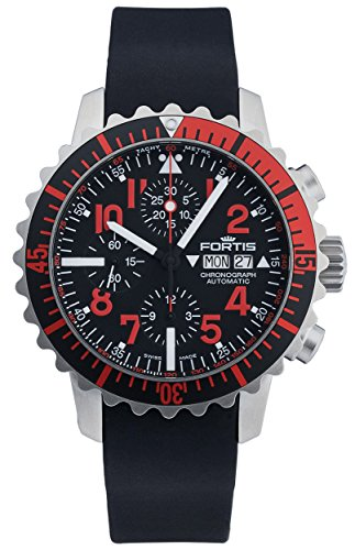 Fortis B-42 Marinemaster Day/Date Automatic Chronograph Steel Red Mens Watch 671.23.43 K