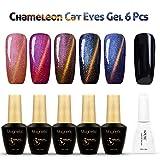 Azure Beauty UV Nagellack cat eye gel Katzenauge  Chamäleon 5 Farben mit 1schwarz Gellack und 1 nagellack Magnet 6x12ml
