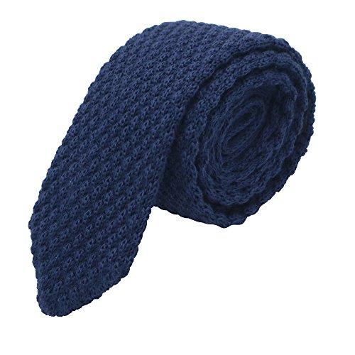 MASSI MORINO Herren Strickkrawatte, handgenähte Krawatte Baumwolle in verschiedenen Farben - schmale 6cm Slim Fit Herrenkrawatte (Blau)