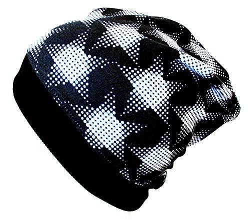 WOLLHUHN ÖKO Beanie-Mütze mit coolen Raster-Sternen schwarz/weiß (aus...