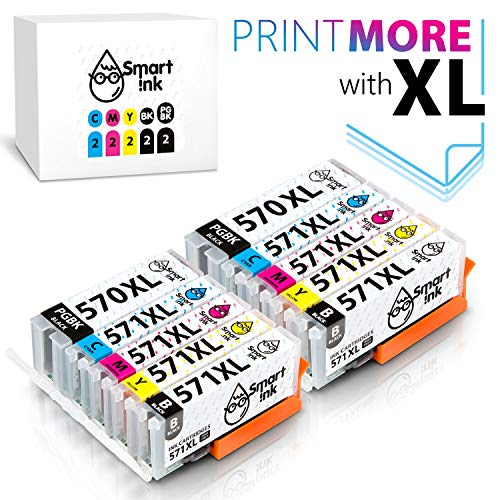 Smart Ink Kompatibel Druckerpatronen Tintenpatronen Canon PGI 570 XL CLI 571 XL 10 Multipack (2PGBK & 2BK/C/M/Y) mit Chip für Pixma MG5750 5751 5753 6850 6851 7750 7751 TS5050 5051 6050 6052 6051 8050