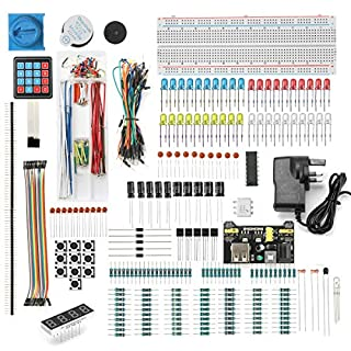 DEYUE 398 Arduino Electronic Fun Kit Bundle | Basic Electronics Components Kit | for Arduino, Raspberry Pi, STM32 | Power Supply Module, Power Adaptor, Jumper Wire