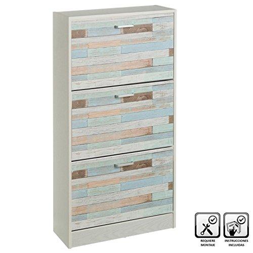 Mueble zapatero de 3 puertas de madera azul rústico Vitta para dormitorio - Lola Home