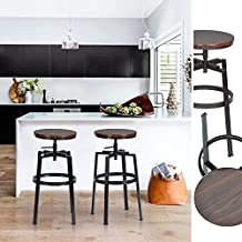 –Juego de 2sillas de Bar estilo Industrial Vintage taburetes de bar dessus madera MDF sólido nogal negro de Pin y metal estilo altura ajustable la silla de desayuno