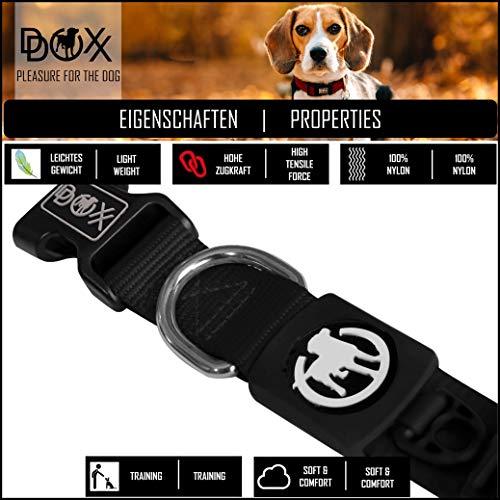 Hundehalsband Halsung aus Premium-Nylon verschiedene Farben und Groessen XS, S, M, L, XL: verstellbar, stabil, bequem, weich, farbig, fuer grosse und kleine Hunde (Leine und Geschirr separat erhaeltlich) (Farbe Schwarz, Größe XS – 1,0 x 21-30 cm) - 3
