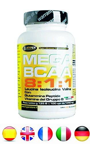 Bcaa 8 1 1 compresse aminoacidi ramificati 400 cpr 540 gr potenziati con glutammina peptide vitamine gruppo b rapporto 8:1:1 (8 leucina, 1 isoleucina, 1 valina) | aumento e recupero massa muscolare