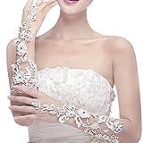 Mitaine Gants de Mariée en Dentelle Exquis Décor Faux Diamants Longueur Coude Tulle Blanc Elégant Avec Strass Paillettes Accessoire Robe de Mariage Fête Soirée Opéra Chic