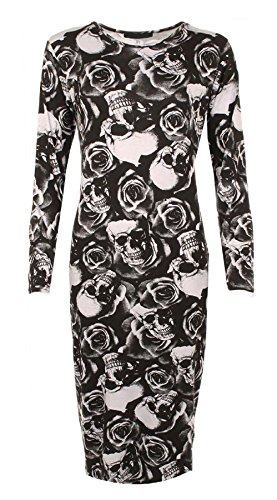 Islander Fashions Womens manches longues imprim robe moulante mi-longue dames Stretchy Fancy Party Dress S / 3XL Rose Skull