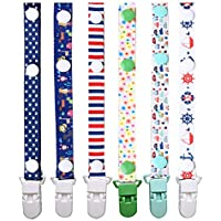 nuoshen 6 Pcs Dummy Clips, Pacifier Soother Clips for Boys Girls Baby