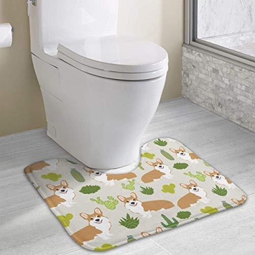 Vidmkeo Corgi with Cactus Skidproof Toilet Seat U Shaped Cover Bath Mat Water Absorption Anti-Bacterial Soft Bath Floor Mat 15.7x19.3 Inches -