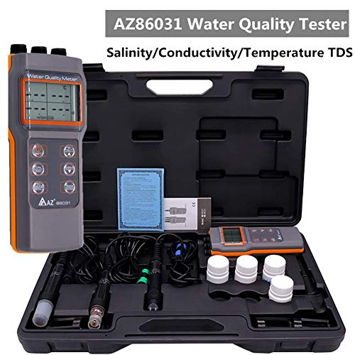 AZ86031 Dissolved Oxygen DO Meter Wasserqualität Meter PH Conductivity Salinity D.O/TDS Tester Handheld Digital LCD Display Meter Monitor (AZ86031) -