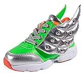 ASHION Kid's Frühling Herbst Kinder Leder Schuh Mädchen Mode LED Schuhe Boy Wing SneakersKidsSport Schuhe Laufschuh (31 EU, Schwarz)