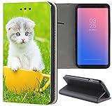 Samsung Galaxy S5 / S5 Neo Hülle Premium Smart Einseitig Flipcover Hülle Samsung S5 Neo Flip Case Handyhülle Samsung S5 Motiv (1125 Katze Katzenbaby Kätchen Weiß Grün Gelb)