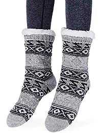 90626f1f959 Femme Fille Christmas Chaussettes a la Maision Slipper Antidérapantes d hiver  Chaud Douce