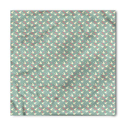 (Romantic Square Scarf, Birds Little Hearts,Bandana Head and Neck Tie Neckerchief Headdress Silk-Like 100% Polyester)