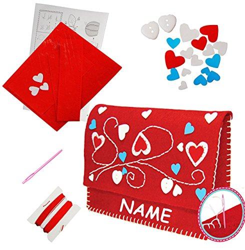 Bastelset-Filz-Handtasche-Clutch-Herzen-rot-zum-Sticken-einfaches-Nhen-per-Hand-incl-Name-Tasche-Filztasche-Komplettset-filzen-Creativ-Filzset-zum-Basteln-Filztaschen-Handarbeiten-mit-Zubehr-erstes-Nh