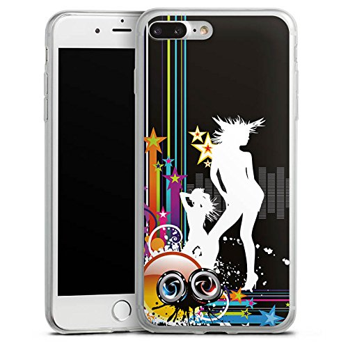 Apple iPhone 8 Slim Case Silikon Hülle Schutzhülle Disco Party Silhouette Silikon Slim Case transparent