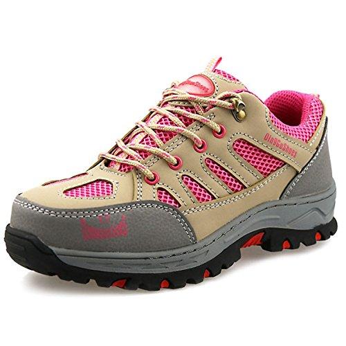 CHNHIRA Arbeitsschuhe Damen Stahlkappe Sicherheitsschuhe Rutschhemmend Sportlich Trekking Wanderhalbschuhe(EU 34, violett)