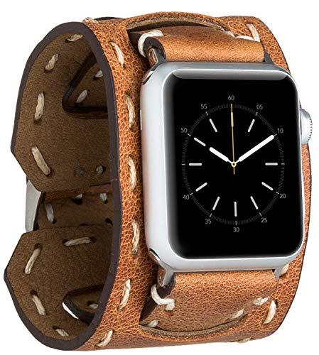 Burkley Leder Armband geeignet für Apple Watch 1/2 / 3/4 Uhrenarmband in breiter Ausführung mit Dornverschluss passned für die Apple Watch 42/44mm (Cognac) Die 2. Generation Apple