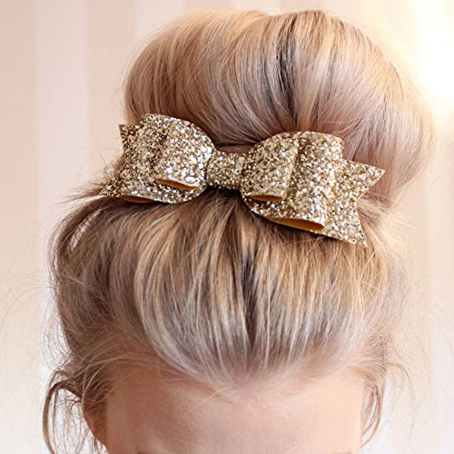Gemini_mall® Girls Boutique Hair Clips Barrettes Hair Accessories Glitter Hair Bows Hair Pins for Girls Teens - Rose Gold