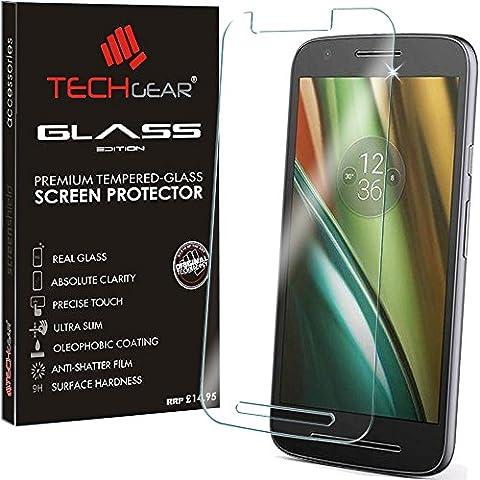TECHGEAR® Motorola Moto E3 (3rd Gen / 2016 Edition) GLASS Edition Genuine Tempered Glass Screen Protector Guard Cover [Not for 1st or 2nd Gen Moto E]