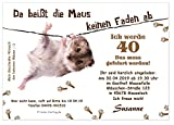 Unser-Festtag Lustige Einladungskarte Maus am Faden Geburtstagseinladung für Erwachsene lustig witzig - mit Wunschtext - 10 Karten