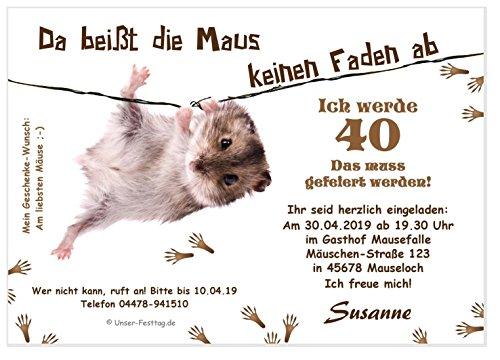 Unser-Festtag Lustige Einladungskarte Maus am Faden Lustige, Witzige Einladungskarten für runden Geburtstag - 40 Karten