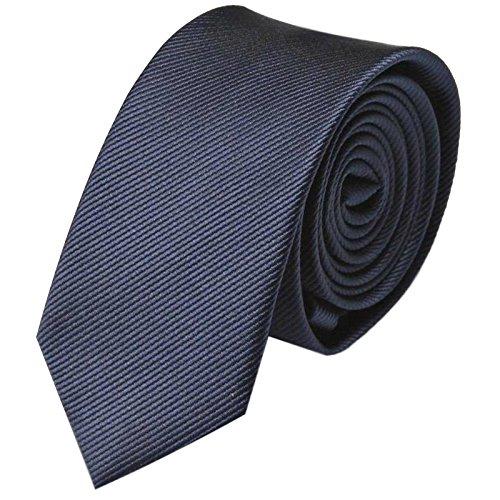 Krawatte 6cm Schmal gestreift | Dunkelblaue Rips Herrenkrawatte zum Sakko | Slim Schlips Binder einfarbig Blau mit feinen Streifen