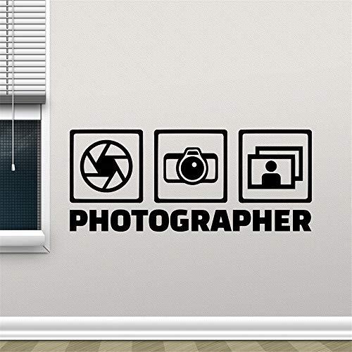 yiyiyaya Fotograf Wandtattoo Fotostudio Wand Fenster Vinyl Aufkleber Kamera Dekor Poster Removable Home Decor Aufkleber Tapete grau 76X32 cm (Grau Und Marine-dekorative Kissen)