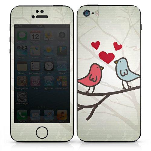Apple iPhone SE Case Skin Sticker aus Vinyl-Folie Aufkleber Herz Vogel Love DesignSkins® glänzend