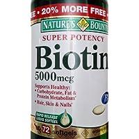 Natures Bounty Biotin 5000 mcg - 60 Capsules (Pack of