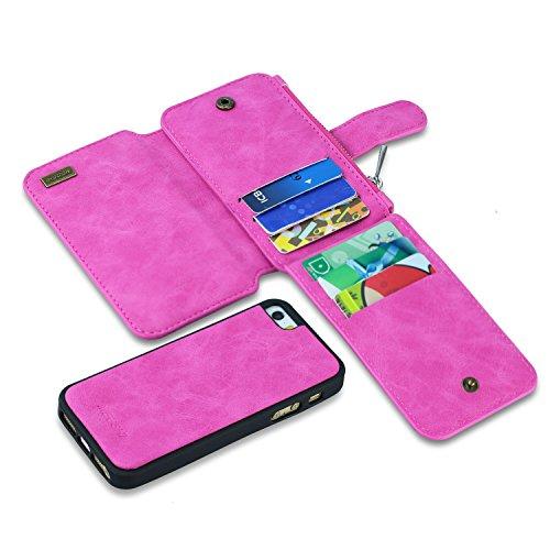 Für iPhone 5/5S 5SE Wallet Case, megshi Premium Reißverschluss Geldbörse Leder Abnehmbaren Magnet Fall Kupplung Abnehmbarer Case Card Flip Kredit Bezug für iPhone 5/5S 5SE 10,2cm (Hot Pink)