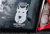 Bianco Svizzero Pastore - Adesivo Auto - Cane Firmare Finestrino, Paraurti Adesivi Regalo - V001 - Bianco/Trasparente - Esterno Stampa, 220x100mm