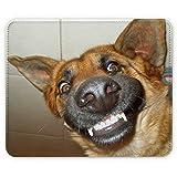 Hunde 10047, Deutscher Schäferhund, Designer Leder Mousepad Unterlage Mauspad Maus-Pad Stark Anti Rutsch Unterseite für Optimalen Halt mit Lebhaftes Motiv Kompatibel mit allen Maustypen (Kugel, Optisch, Laser)Ideal für Gamer und für Grafikdesigner.