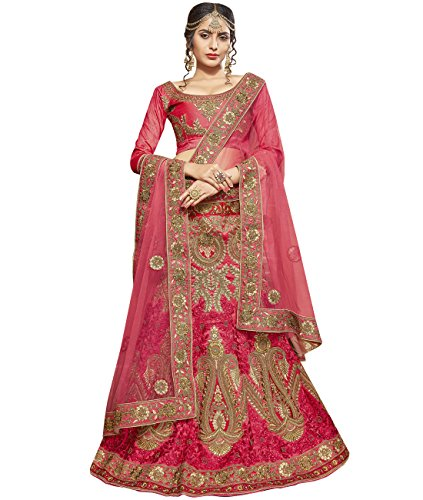Indian Ethnicwear Bollywood Pakistani Wedding Pink A-Line Lehenga Semi-stitched-ROYK26855
