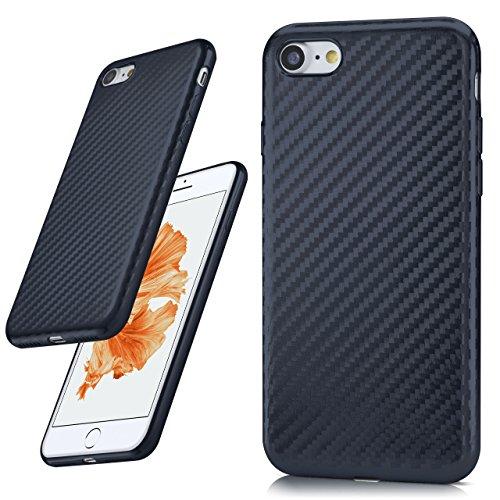 iPhone 7/8 Hülle Rosé-Gold Karbon Optik [OneFlow Pulse Back-Cover] Schutzhülle Ultra-Slim Silikon Handy-Hülle für iPhone 7/8 Case Carbon Silikonhülle Tasche CARBON-SMOKE