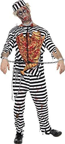Smiffys, Herren Zombie Sträfling Kostüm, Hose, Oberteil, Latex Brust, Mütze und Handfesseln, Größe: M, 31911