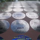 #7: 100 Round Bright Silver Hologram Sequentially Numbered Tamper Evident Security Labels/stickers