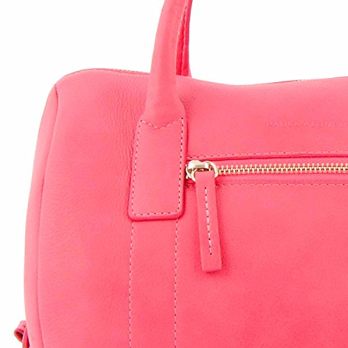 Borsa in pelle tipo bowling Rosa