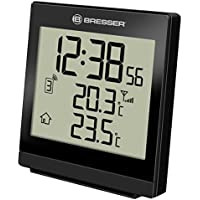 Bresser - Temeo SQ, Termometro con rilevazione della temperatura interna ed esterna, orologio radio-controllato, sveglia, colore: Nero