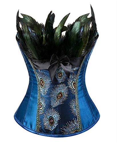 Blau Kostüm Korsett - Burlesque Pfau Pattern Korsett Corsage Halloween Karneval Kostüme (EUR(36-38) L, Blau)