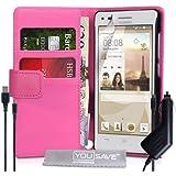 Yousave Accessories Coque Huawei Ascend G6 Etui (Modèle 3G Seulement) Rose Chaud PU Cuir Portefeuille Housse Avec Chargement Micro USB Et Chargeur De Voiture
