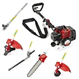 Trueshopping 43cc Petrol Multi Tool 5 In 1 Multi Function Garden Tool Long Reach Including: Hedge Trimmer, Strimmer, Brush Cutter, Chainsaw Pruner & Free Extension Pole 2-Stroke 1.7KW 2.2HP