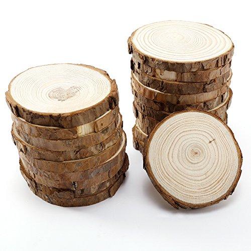 (Surepromise 20 x Rund Holzscheiben Baumscheiben Namensschild Anhängeetiketten Hochzeit Deko Basteln DIY 8-9cm)