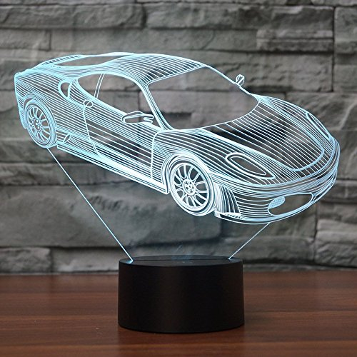Buntes 3D Nachtlicht, Sportauto Form, energiesparende LED Tischleuchte, personalisierte Geburtstagsgeschenk, Mini Nachtlicht