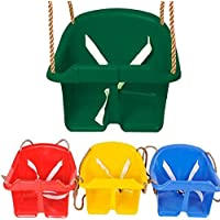 Childrens Childs Plastic Rope Swing Kids Toddler Adjustable Outdoor Garden Hanging Bucket Safety Seat (Green)