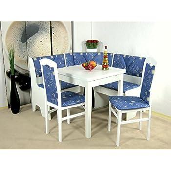 Eckbankgruppe weiß blau  Truhen-Eckbankgruppe weiß; Eckbank, 2 Stühle und Rundtisch, Bezug ...
