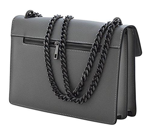 ALMA Handtaschen Umhängetaschen Tasche Schultertaschen Echtes Leder Made in Italy Grau