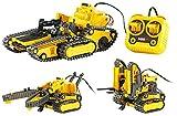 Playtastic Bagger: 3in1 Geländegängiger Kettenroboter mit Kabel-Fernsteuerung (Bausatz) (Gabelstapler)