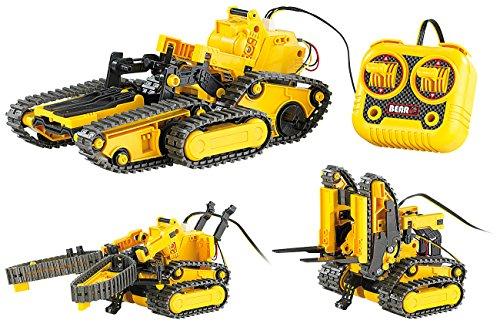 Preisvergleich Produktbild Playtastic Bagger: 3in1 Geländegängiger Kettenroboter mit Kabel-Fernsteuerung (Bausatz) (Raupe)